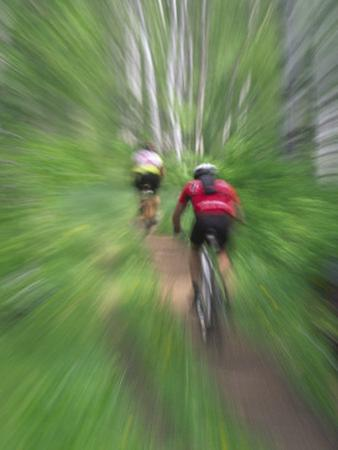 Zoom Effect of Mountain Bike Racers on Trail in Aspen Forest, Methow Valley, Washington, USA