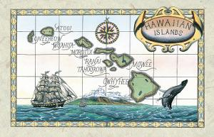 Vintage Style Map of the Hawaiian Islands by Steve Strickland