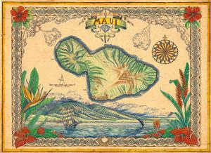 Vintage Style Map of the Island of Maui, Hawaii by Steve Strickland