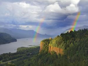 Double Rainbow over Vista House by Steve Terrill