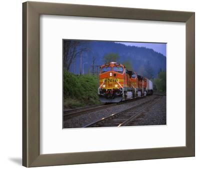 Freight Train Moving on Tracks, Stevenson, Columbia River Gorge, Washington, USA