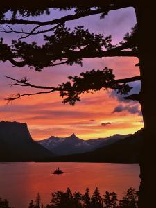 Montana, Glacier NP. St Mary Lake and Wild Goose Island at Sunset by Steve Terrill