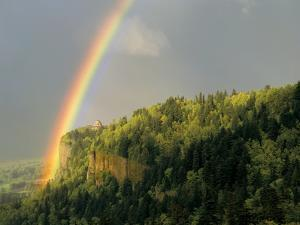 Springtime Rainbow Arching Over Vista House on Crown Point by Steve Terrill