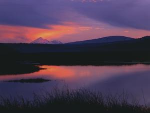 Sunset Reflecting in Upper Klamath Lake with Mt. Shasta, Upper Klamath National Wildlife Refuge by Steve Terrill