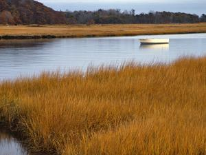 USA, Maine. Boat Anchored in Mousam River by Steve Terrill
