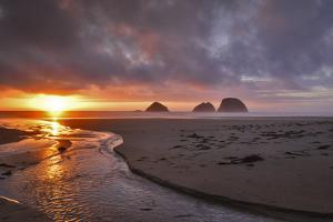 USA, Oregon, Oceanside. Sunset on Three Arch Rocks by Steve Terrill