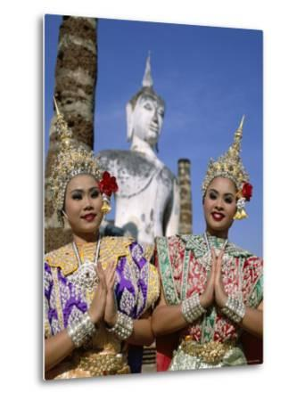 Girls Dressed in Traditional Dancing Costume at Wat Mahathat, Sukhothai, Thailand