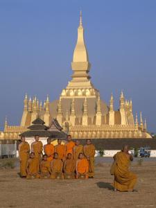 Great Stupa, Monks, Vientiane, Laos by Steve Vidler
