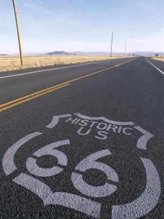 Historic Route 66 Sign on Highway, Seligman, Arizona, USA by Steve Vidler