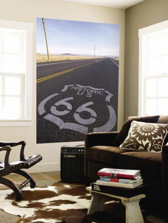 Historic Route 66 Sign on Highway, Seligman, Arizona, USA