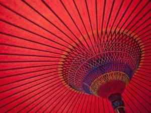 Japan, Kyoto, Higashiyama, Japanese Red Umbrella by Steve Vidler