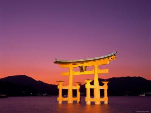 Miyajima Island, Itsukushima Shrine, Torii Gate, Night View, Honshu, Japan by Steve Vidler