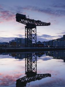 Scotland, Glasgow, Clydebank, the Finneston Crane and Modern Clydebank Skyline by Steve Vidler