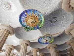 Spain, Barcelona, Guell Park, Ceiling Detail in the Hall of Columns by Steve Vidler