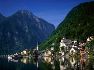 Village with Mountains and Lake, Hallstatt, Salzkammergut, Austria by Steve Vidler
