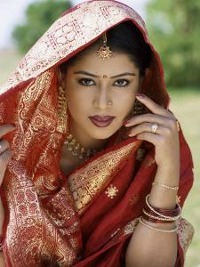 Woman Dressed in Sari / Traditional Costume, Mumbai (Bombay), Maharastra, India by Steve Vidler