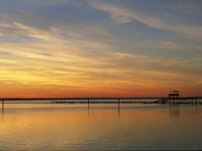 Distant View of Fishing Pier at Twilight by Steve Winter
