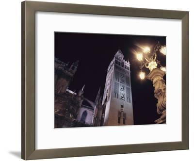 La Giralda, a Part of the Seville Cathedral, at Night