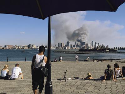 Onlookers Watch Smoke Billowing over Manhattan, September 11, 2001 by Steve Winter