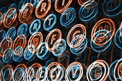 Neon Typewriter Keys Close Up