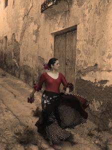 A Spanish Woman Walking Along a Traditional Spanish Street Wearing a Flamenco Style Dress by Steven Boone