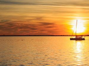 Pensacola Florida Sunset with Sailboat in Background by Steven D Sepulveda