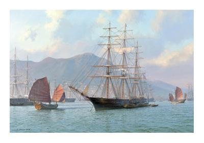Overhauling Sails before the Heat of the Sun. Sea Witch Hong Kong 1849