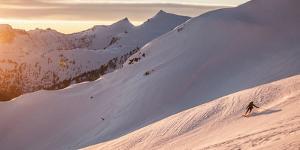 Snowboarder (Split Boarder) in North Cascades National Park, Washington by Steven Gnam