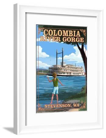 Stevenson, Washington - Columbia River Gorge - Paddle Wheeler Scene-Lantern Press-Framed Art Print