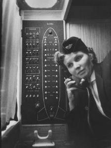 Stewardess Using Telephone on Board Soviet Passenger Plane
