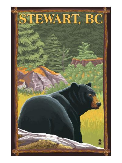 Stewart, BC - Bear in Forest-Lantern Press-Art Print