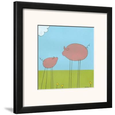 Stick-Leg Pig II-Erica J^ Vess-Framed Art Print