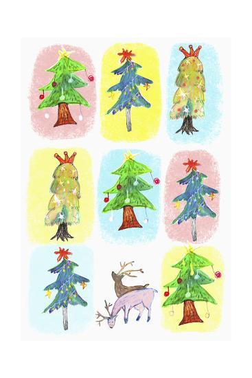 Sticker Icon Pack of Christmas Trees--Giclee Print