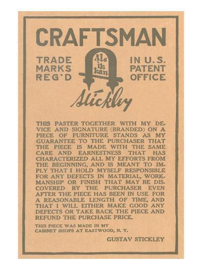 Stickley Craftsman Label--Art Print