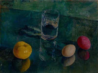 Still Life Against a Green Background, 1924-Kuzma Sergeyevich Petrov-Vodkin-Giclee Print