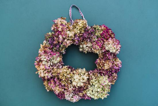 Still life, autumnal decoration, wreath with hydrangea blossoms-mauritius images-Photographic Print