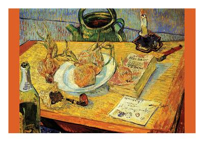 Still Life Drawing Board Pipe Onions and Sealing-Wax-Vincent van Gogh-Art Print