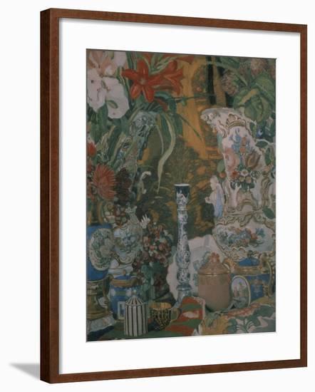 Still Life. Flowers and Porcelain, 1912-Alexander Yakovlevich Golovin-Framed Giclee Print
