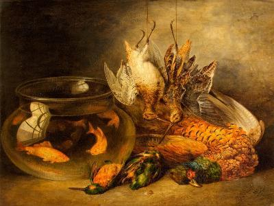 Still Life, Game and Hanging Snipe with Goldfish in a Bowl-Benjamin Blake-Giclee Print
