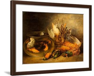 Still Life, Game and Hanging Snipe with Goldfish in a Bowl-Benjamin Blake-Framed Giclee Print