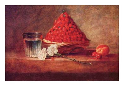 Still Life of a Strawberry Basket-Jean-Baptiste Simeon Chardin-Art Print