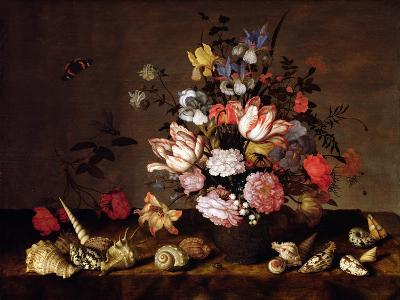 Still Life of a Vase of Flowers with Shells-Balthasar van der Ast-Giclee Print