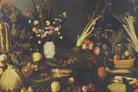 Still Life of Flowers, Fruit and Vegetables, C.1594-Caravaggio-Giclee Print