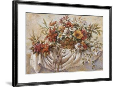 Still Life of Flowers in a Basket-Joaquin Moragues-Framed Art Print