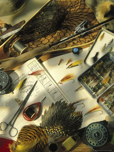 Still Life of Fly Fishing Accessories-Vito Aluia-Photographic Print