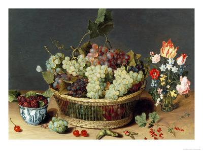 Still Life of Grapes in a Basket-Isaac Soreau-Giclee Print