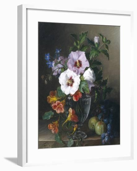 Still Life of Hibiscus and Nasturtium in a Glass Vase-Julie Guyot-Framed Giclee Print
