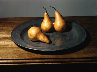 Still Life of Pears on Antique Pewter Plate-Eliot Elisofon-Photographic Print