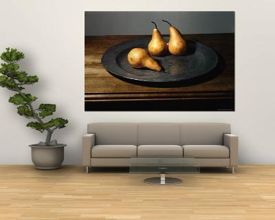 Still Life of Pears on Antique Pewter Plate-Eliot Elisofon-Wall Mural