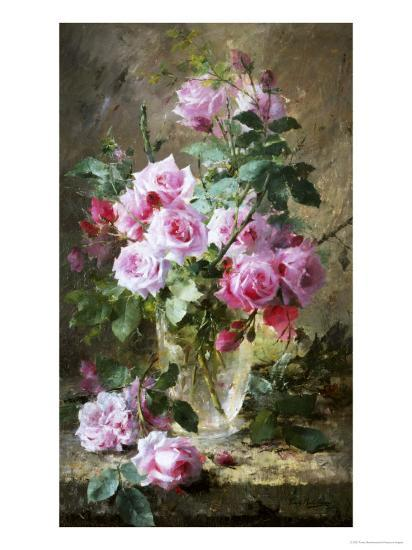 Still Life Of Pink Roses In A Glass Vase Giclee Print By Frans